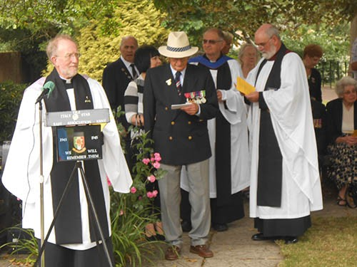 Reverend Bill Hornsby, Padre of East Kent Branch, Colonel David Blum OBE, National President and The Very Reverend Dr. Michael Chandler