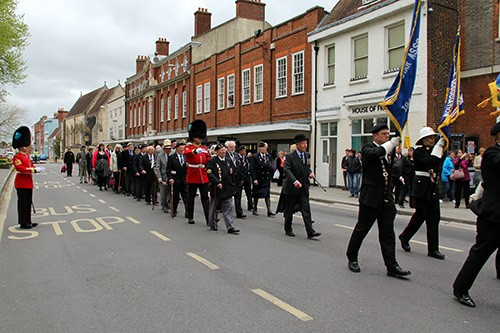 Italy Star veteran Colonel Toby Sewell heads the parade following the service with RSM and Drill Sergeant of the Irish Guards