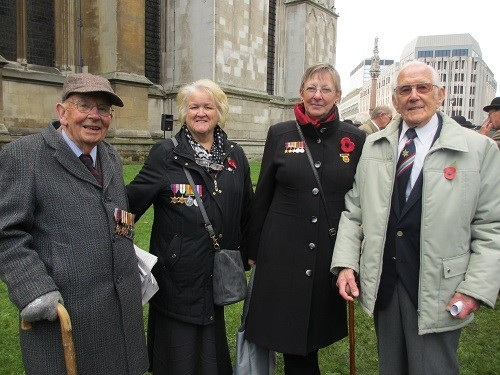 Veteran Derek Mant, Maureen Hanlan, Mary Tidy and veteran Tom Gatford